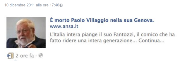 L'Ansa dà la notizia della morte di Paolo Villaggio. Ma è una bufala.