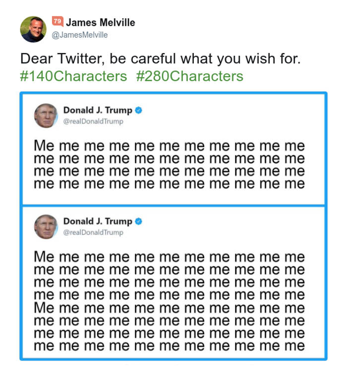 Tweet di Trump con 140 caratteri e con 280 caratteri